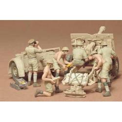 1/35 Английская полевая пушка с расчетом из 6 человек и артиллерийским прицепом WWII