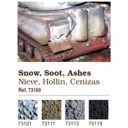 Vallejo. Набор сухих пигментов - Снег, копоть, зола / Snow, Soot, Ashes, Industrial Grime (73199)