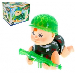 "Figurine soldier ""Young Fighter"", works on batteries, light and sound effects, crawls (1012944)"