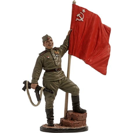 Guards Red Army infantry Lance Corporal with the Soviet flag, 1943-45, USSR (WWII-16)