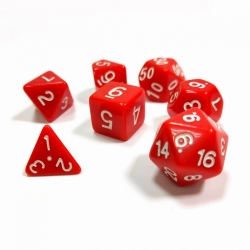 Set of 7 dice for role-playing games (red) 1143