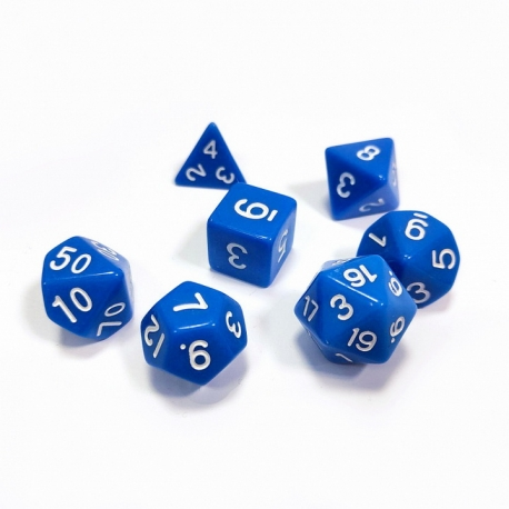 Set of 7 dice for role-playing games (blue) 1147