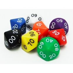 Dice d100: 5 colors (16 mm)