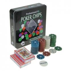 Набор покера на 100 фишек в жестяной коробке с двумя колодами (240265)
