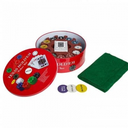 A set of poker with 240 chips in a tin box with two decks and a cloth (240262)