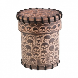 Skull Beige Leather Dice Cup (CSKU124)