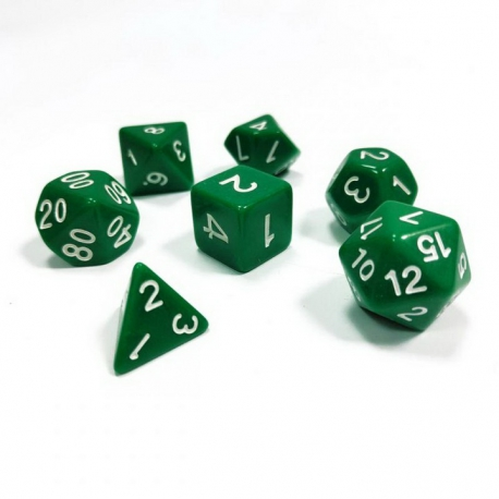 Set of 7 dice for role-playing games (green) 1145