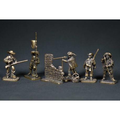 Breakfast at the Saint-Gervais bastion (bronze, 5 figures, 1844 401-405 + terrain)