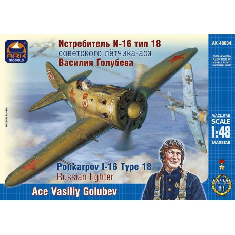 Fighter I-16 type 18 of the Soviet ace pilot Vasily Golubev (40034)