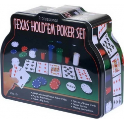 A set for playing poker in a metal bank (200 chips 4 grams, 2 decks of cards, cloth) 1897/269784