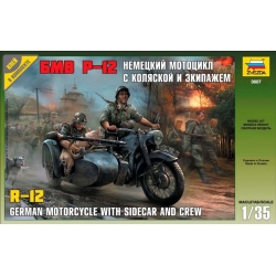 WW2 German motocycle BMW R-12 with sidecar and crew
