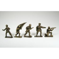 World War II, Russian (5 pcs.) tin painted bronze